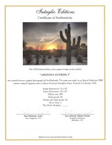 Arizona Sunrise I by Paul Richards - Certificate of Authenticity