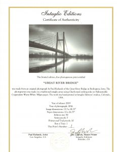Great River Bridge Certificate of Authenticity