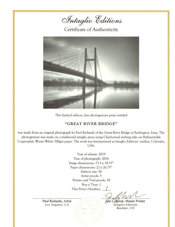 Great River Bridge Certificate of Authenticity