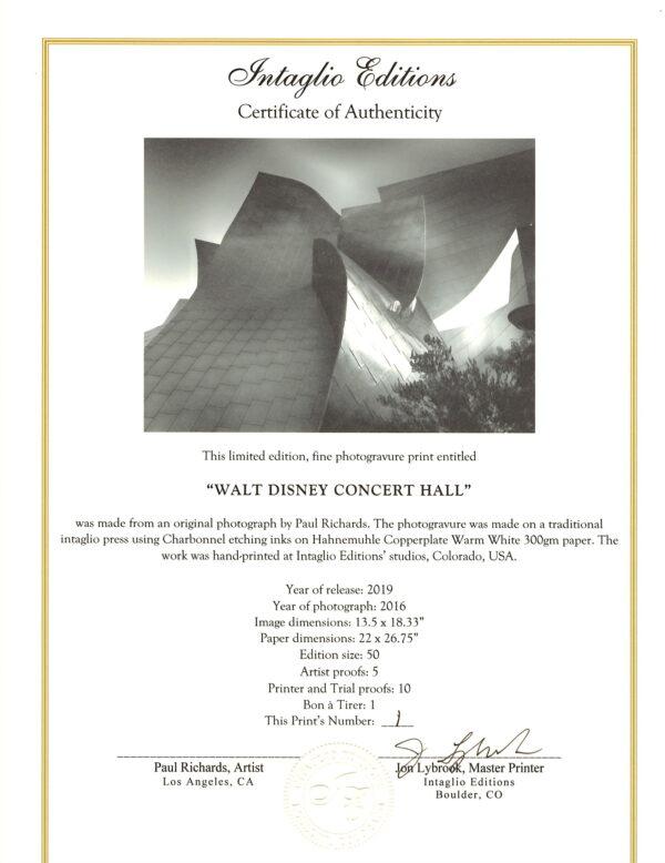 Walt Disney Concert Hall - photogravure Certificate of Authenticity