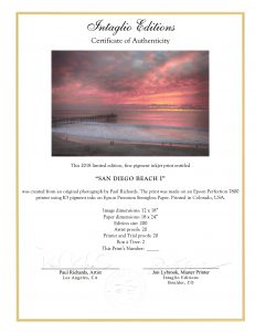 San Diego Beach I by Paul Richards - Certificate of Authenticity