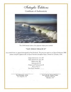 San Diego Beach II by Paul Richards - Certificate of Authenticity
