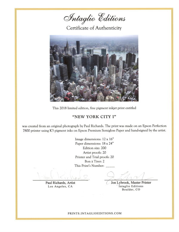New York City I - by Paul Richards - Certificate of Authenticity