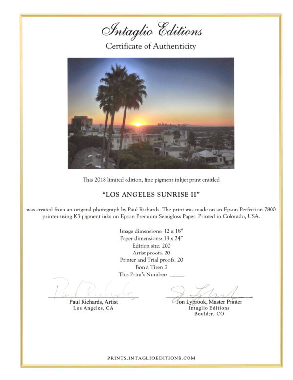 Los Angeles Sunrise II by Paul Richards - Certificate of Authenticity