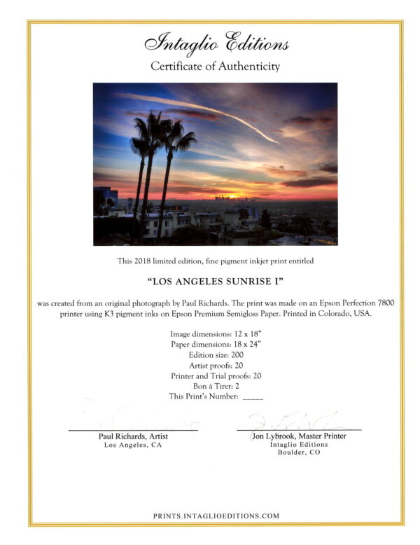 Los Angeles Sunrise II - by Paul Richards - Certificate of Authenticity
