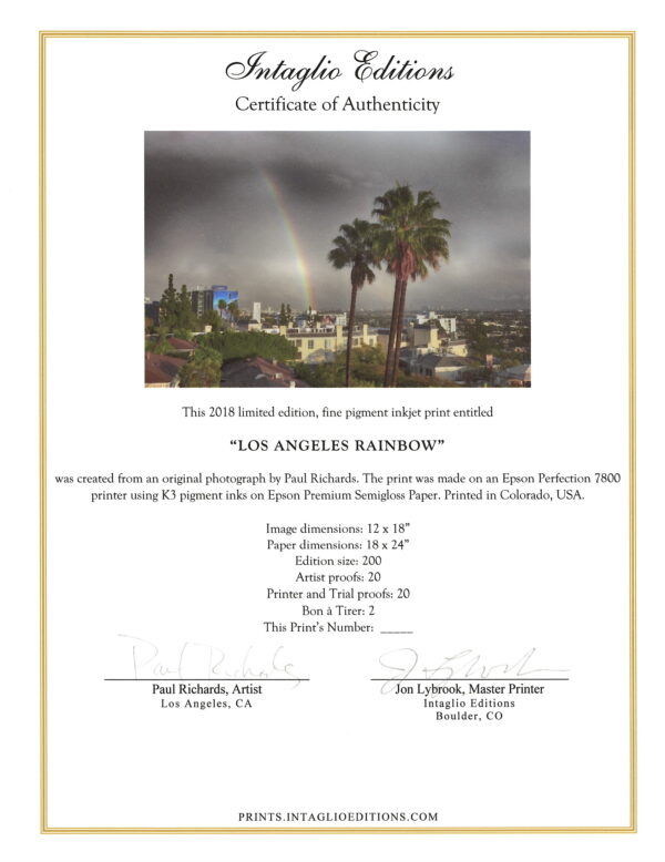 Los Angeles Rainbow by Paul Richards- Certificate of Authenticity