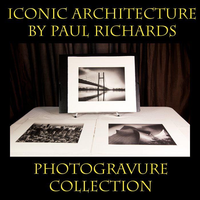 Paul Richards – Iconic Architecture – Collection of 3 Handmade Photogravures with Black Portfolio