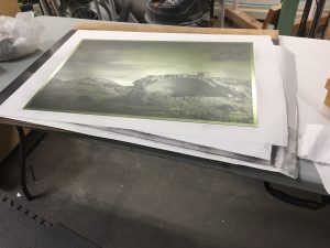 Polymer photogravure plate is inked, wiped, and ready for proofing!