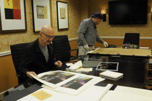 Tony Levin working with printmaker Jon Lybrook