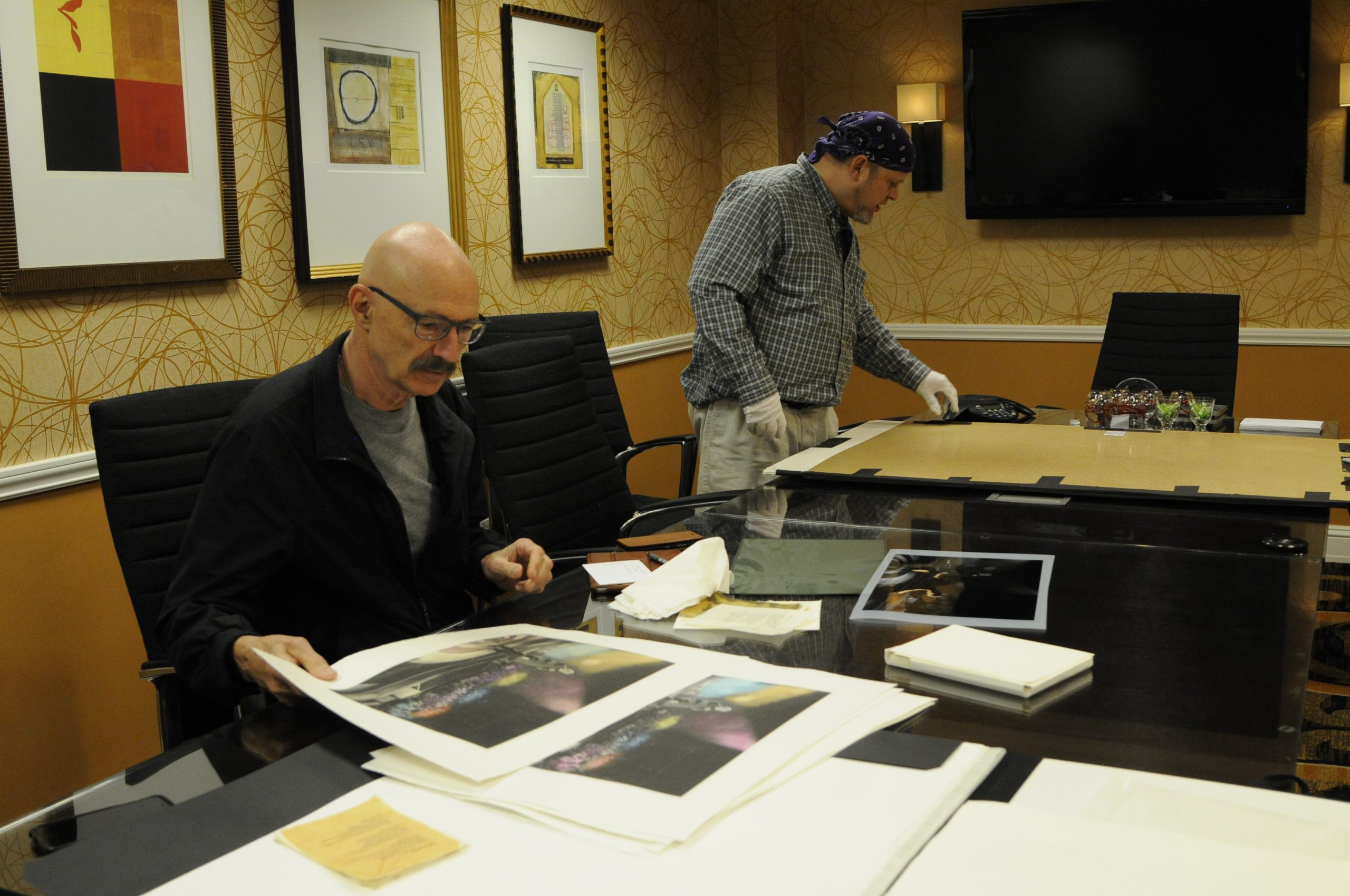 Tony Levin working with printmaker Jon Lybrook