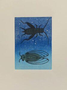 Amanda Tomlin Linocut Cicada and Grasshopper